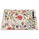 Juego de 6 manteles individuales antideslizantes para niños, resistentes al calor, diseño de flores rústicas de rosa, para mesa de comedor, 45,7 x 30,5 cm