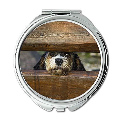 Spiegel, Reisespiegel, Hund Zaun Schienen Canine Pet Close up Domestic, Taschenspiegel, Tragbare Spiegel