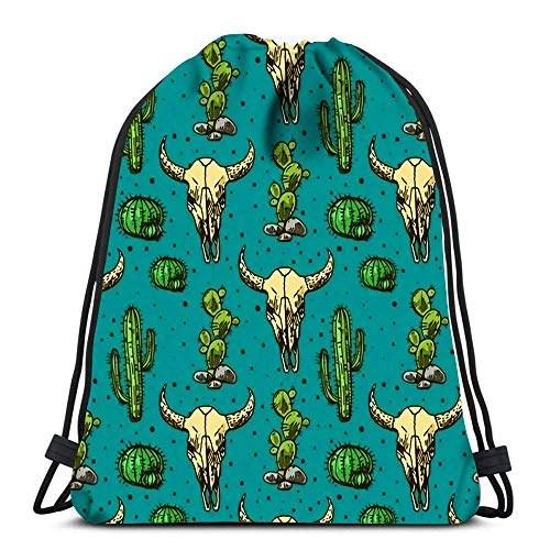 Hdadwy Drawstring Backpack Bags Sports Cinch Cactus and Skull of Bull for School Gym