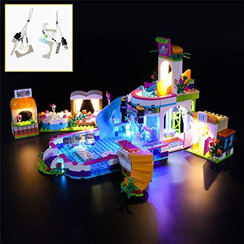 QJXF Juego De Luces USB Compatible con Lego Amigos Heartlake Piscina De Verano 41313, LED Light Kit para (Piscina De Verano) De Bloques De Creación De Modelos (No Incluido Modelo)