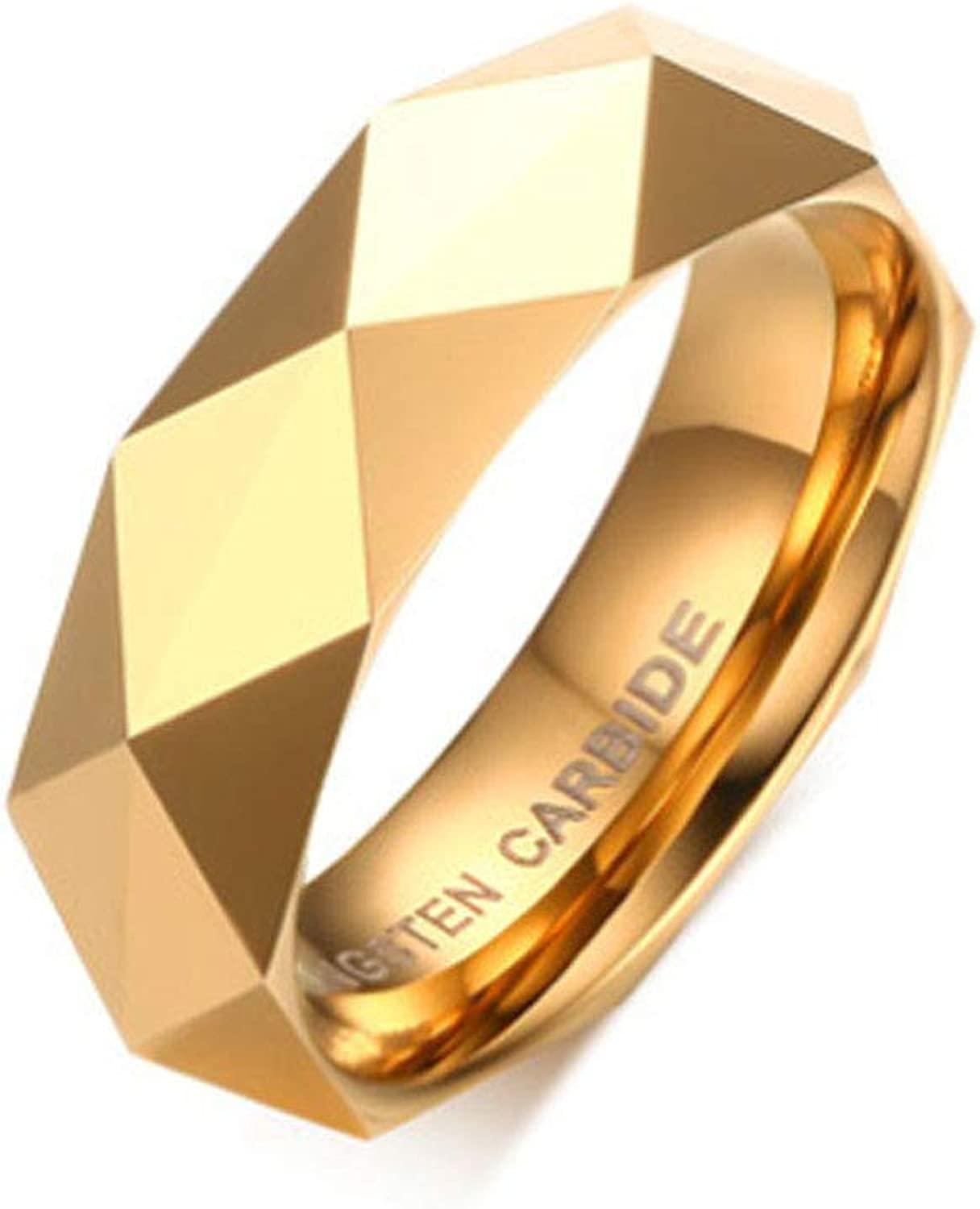 Ring 6MM Prismatic Cut Surface Tungsten Steel Electroplated Ring Trendy Personality Jewelry Women's