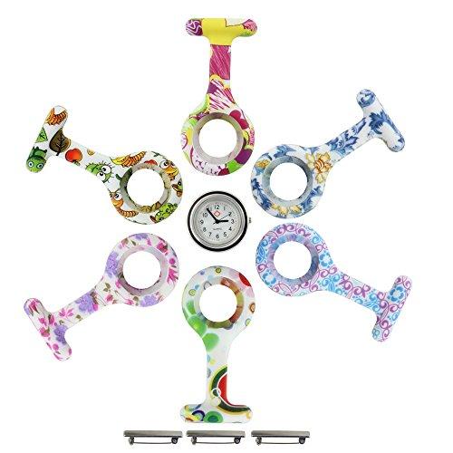 com-four® Sparset Schwesternuhr Ansteckuhr Nurse Clock Ansteckuhr in 6 Farben und Designs aus Silikon, Krankenschwesteruhr - FOB Ansteckuhr (10-teilig mit Uhr)