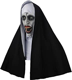 The Nun Valak Horror Props Scary Cosplay Latex Masks with Headscarf Creepy Halloween Party Costume
