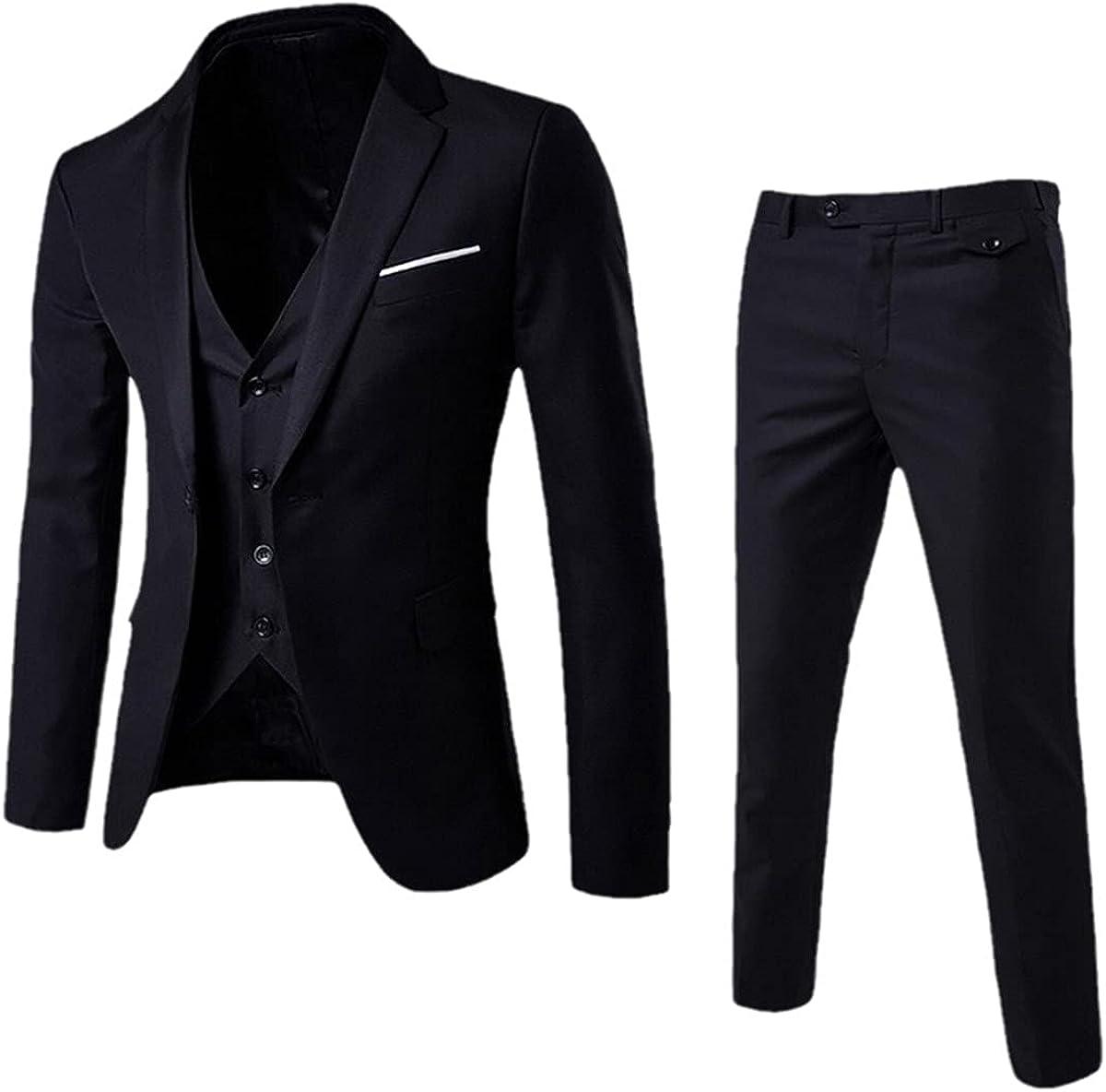CACLSL 3-Piece Men's Wedding Suit Fashion Slim Solid Color Comfortable Business Office Suit Jacket + Pants + Vest