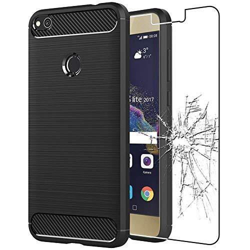 """ebestStar - Funda Compatible con Huawei P8 Lite (2017) Carcasa Silicona Gel, Protección Diseño Fibra Carbono Premium Ultra Slim Case, Negro + Cristal Templado [Aparato: 147.2x72.9x7.6mm 5.2""""]"""