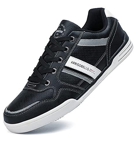 TARELO Zapatillas Hombres Deportivo Zapatos Casual Running Sneaker Respirable Moda Al Aire Libre Tamaño 41-46 (Negro, Numeric_46)