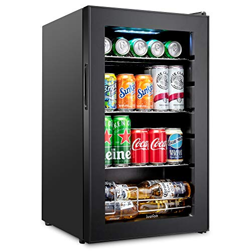 Ivation 101 Can Beverage Refrigerator | Freestanding Ultra Cool Mini Drink Fridge | Beer, Cocktails, Soda, Juice Cooler for Home & Office | Reversible Glass Door & Adjustable Shelving - Black