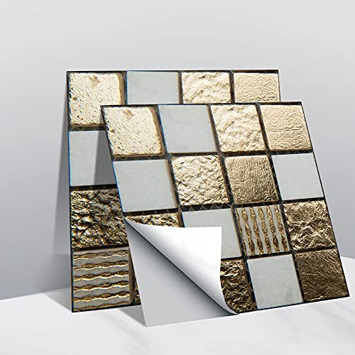 Hiseng Rectángulo Adhesivos Decorativos Azulejos Pegatinas para Baldosas del Baño, Mármol 3D Mosaico Estilo Cocina Resistente al Agua Pegatina de Pared, 10x10cm (Medalla de Oro,10Piezas)