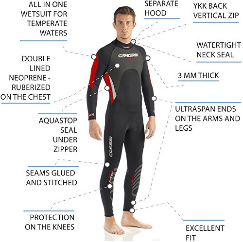 Cressi Men's Morea 3mm Premium Neoprene-Full Length Wetsuit