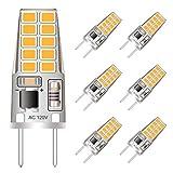 G8 LED Bulb Mini T4 JCD Type 120V Warm White 3W Equivalent to Bi-Pin G8 Base Halogen Bulb 20W-25W Dimmable G8 LED Light Bulb 2700K-3000K for Under Cabinet Lighting, Puck Lights (6 Pack)