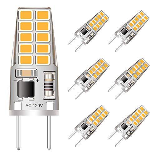 G8 Led Bulb Dimmable, 20W Halogen Equivalent, 120V T4 Bi-Pin G8 Base Warm White 3000K (6 Pack)