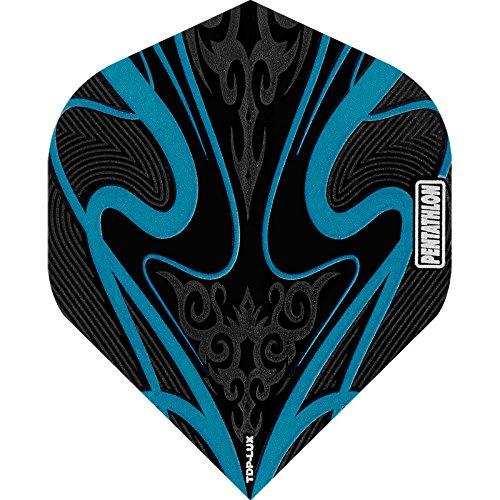 PENTATHLON TDP Lux Dart Flights–Schwarz Serie–STD Aqua Blau–10Sets (30)–inklusive Darts Ecke gebogen Kugelschreiber