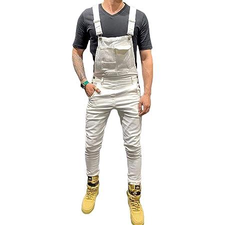 Men Dungarees Jumpsuits Denim Trousers Moto Biker Jeans Casual Retro Combat Cargo Bib Overalls (S, White)