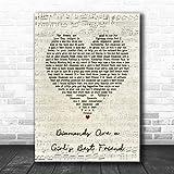 Diamonds are a Girl's Best Friend Script Heart Song Lyric Print