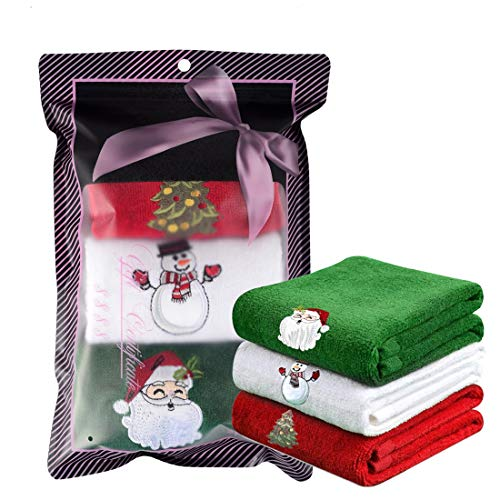 Christmas Hand Towels 100% Cotton, 13x19 inches, Lovely Christmas Decorations Themed Embroidery, Perfect Home & Kitchen Gift (Set of 3)