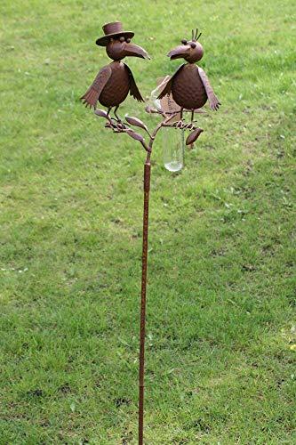 Amicaso Pluviómetro de pareja de pájaros, cuervos, estación meteorológica para jardín, decoración...