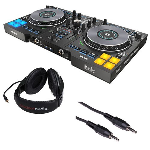 Hercules DJControl Jogvision DJ Software Controller with R100 Stereo Headphones and Mini Male to Stereo Mini Male Cable (Black) 3'