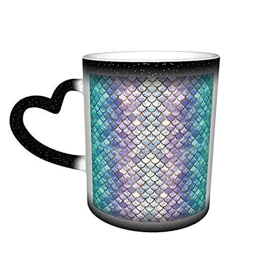 Escalas de sirena (2) tazas de café, taza cambiante de color taza de cerámica termoensible marca taza, foto taza con personalizado