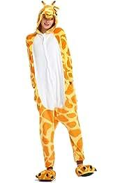 f6757530adc2e WYSMOL Flanelle Girafe Grenouillères Adulte Unisex Pyjama Kiguruma Vêtement  de Nuit