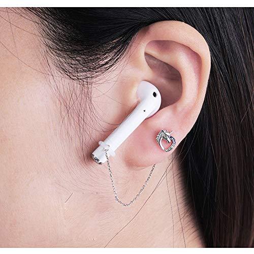 ALXDR S925 Pendientes del Perno Prisionero del Unicornio Oído Un Par, Anti-Perdida Clips del Oído para El Auricular De Bluetooth, Color Espumoso Circón,A