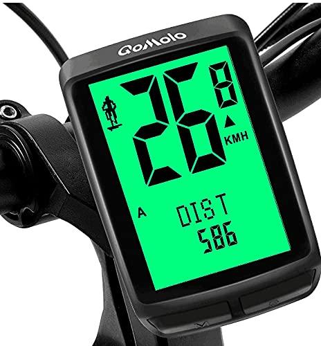Qomolo Computer da Bicicletta, Contachilometri Bici Wireless Impermeabile con 5 Lingue, Multifunzione Ciclocomputer con Retroilluminazione LCD, Tachimetro Bici per Distanza di Tracciamento Velocità