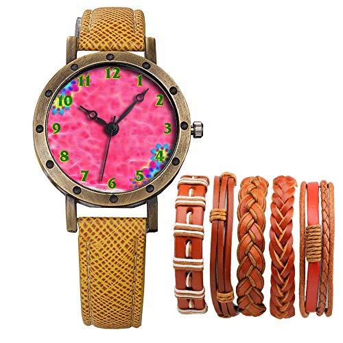 Meisjes Merk Retro Brons Vintage Lederen Band Dames Meisje Quartz Horloge Armband 6 Sets Abstract Bloemen 031.Achtergrond, Roze, Bloemen, Plant, Bloemen, Sjabloon