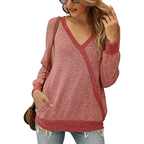 iMixCity Camicia da Donna con Scollo a V Bluse Casual a Maniche Lunghe con Patchwork a Tunica Felpa Leggera Top con Tasca