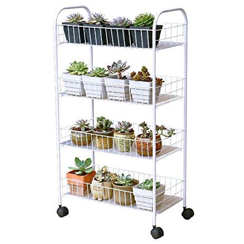 MLHJ Stand de Fleurs- Support à Fleurs, Support à Plantes Multifonctionnel en Fer forgé avec étagère de Pot de Fleurs de Salon intérieur à Roues