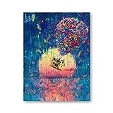 Fliegende Haus Leinwand Kunstdruck Impressionist Poster Ballon Haus Ölgemälde Leinwand Wandbild...