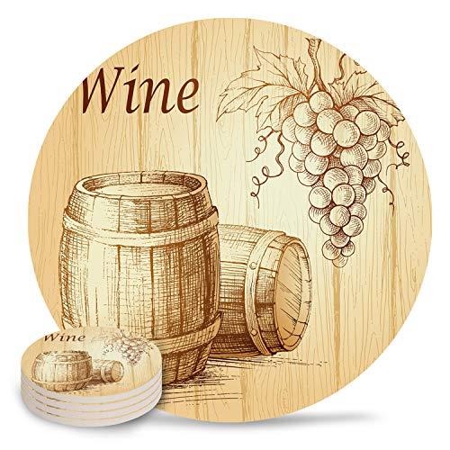 Keramische drank onderzetters, kleurrijke aquarel libel absorberende steen keramische onderzetter met kurk terug voor soorten mokken en bekers, witte achtergrond ronde tafel onderzetter (set van 4/6/8) 4-Piece Set Wijn Barrel4362