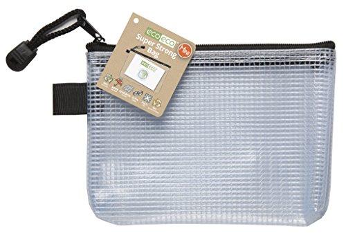 eco-eco eco036 Mini 95% Reciclada Super Claro Transparente Bolsa Fuerte con Cierre de Cremallera Negro, A6
