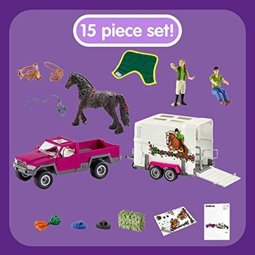 SCHLEICH Horse Club Riding School Special 42403 Avec Pick-Up and horse box Entièrement neuf dans sa boîte