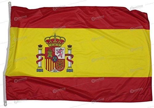 Bandera España 225x150 cm en tela náutico resistente al viento 115g/m², bandera española 225x150 lavable,bandera de Espana 225x150 con cordón,doble costura perimetral y cinta de refuerzo