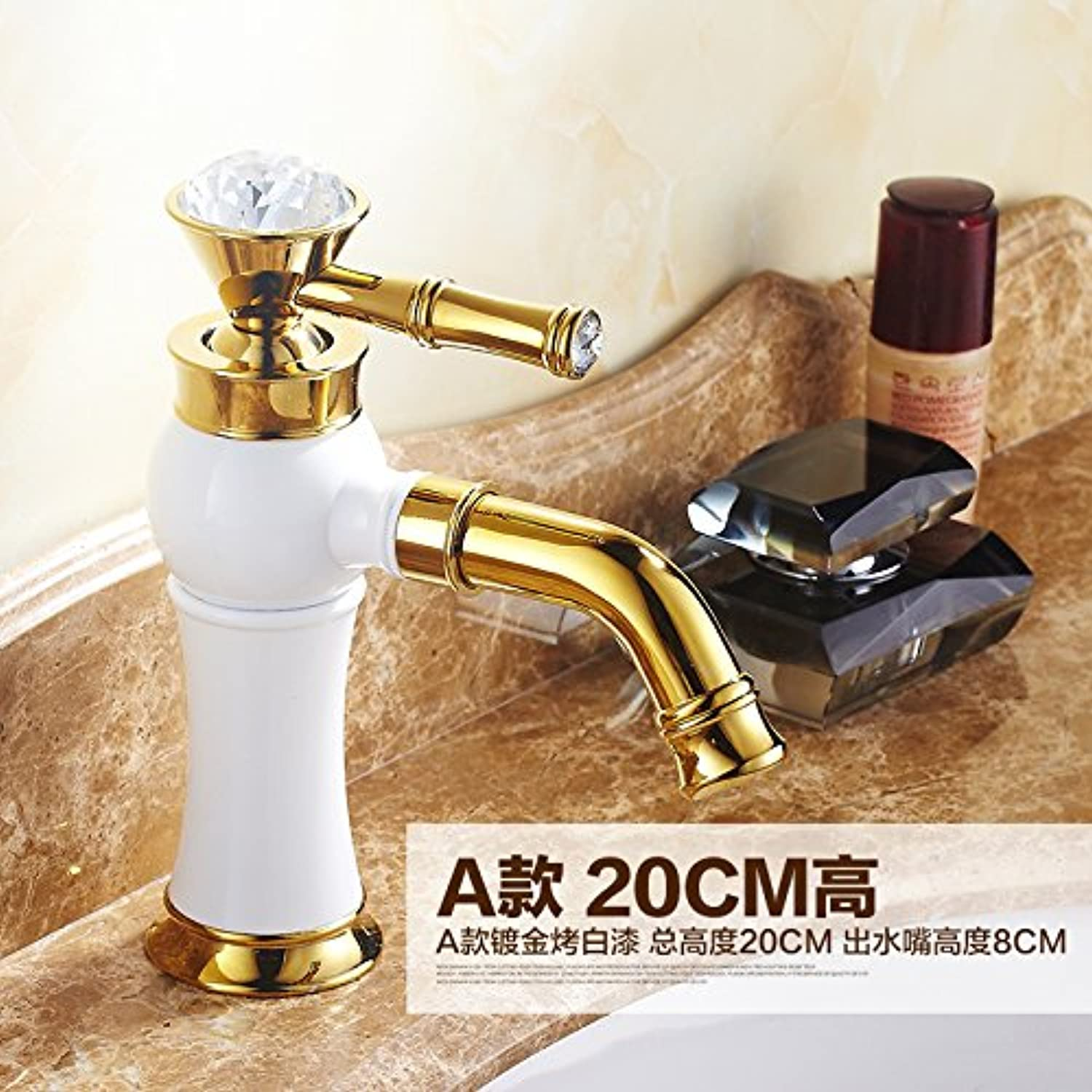 LHbox Basin Mixer Tap Bathroom Sink Faucet Wing Golan paint antique faucets continental antique basin full copper hot and cold basin mixer, grilled white paint short)