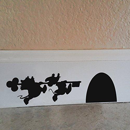 Cartoon House - Mickey und Minnie Maus Wandaufkleber aus Vinyl, schwarz, 9.5