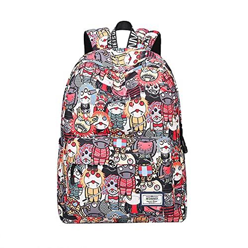 Nenka Zaino per la scuola, impermeabile, portatile, da viaggio, per la scuola, per attività all'aperto, in tela, multicolore, M