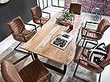 Junado Baumkantentisch Quarto 160 x 85 cm aus Akazie-Holz naturfarben, Esszimmertisch mit schwarz lackierten Beinen, Baumtisch - 2