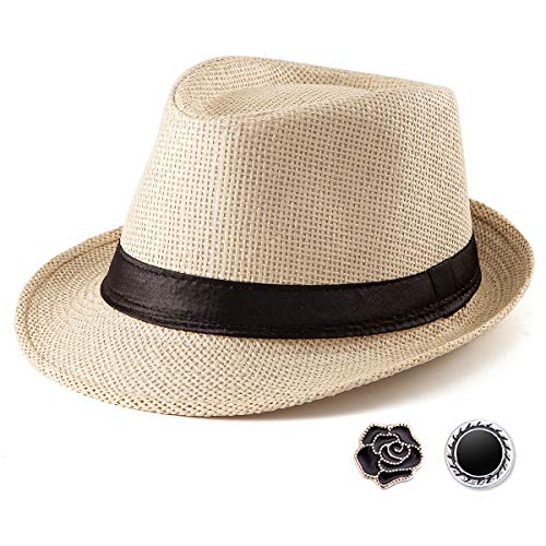 LADYBRO Straw Fedora Hats for Men - Beige Hat for Men Summer Casual Fedora Hat with Band