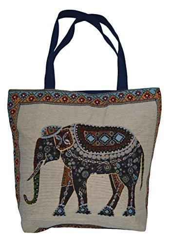 thb Richter Damen Schultertasche Shopper Tasche Eule Elefant Stickerei Strandtasche Bag Tragetasche (Elefant-Muster)