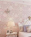 Birwall - Papel pintado con textura para pared, diseño de flores, color rosa