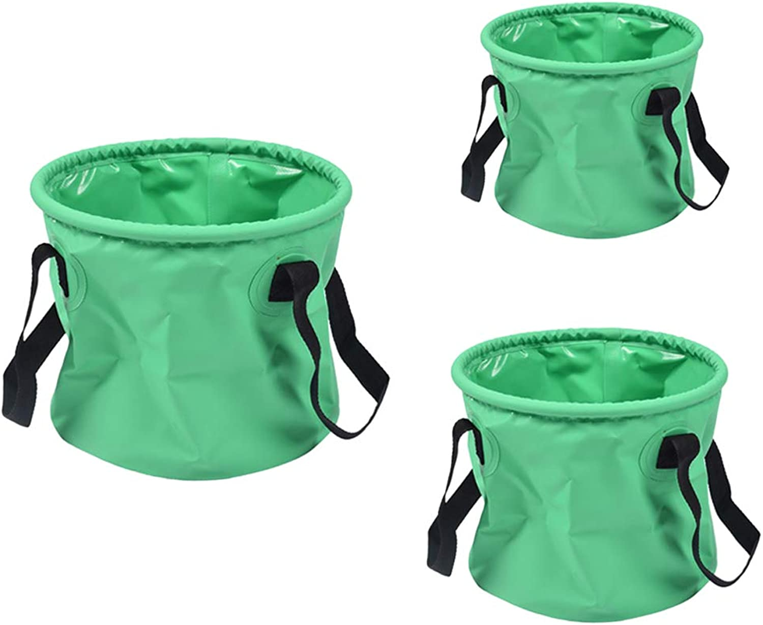 Flameer 3X Portable Water Pail 10L 20L 30L Compactable Folding PVC Bucket Homeware with Sturdy Handle Straps for Car Washing Home Storage