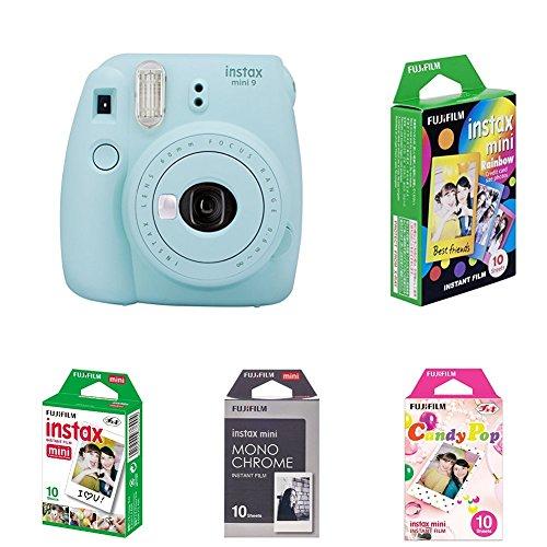 Fujifilm Instax Mini 9 Kamera, eis blau mit Film Box