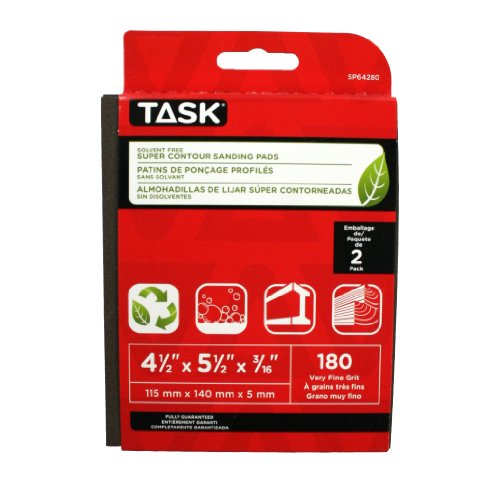 Why Should You Buy Task Tools SP64280 Solvent-Free ECO Super Contour Sanding Pads, 180 Grit, 2-Pack