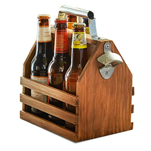 Hammer + Axe Wooden Bottle Caddy, Six-Pack Beer Carrier with Built-In Metal Bottle Opener, Vintage Look, Moisture-Resistant Brew Holder