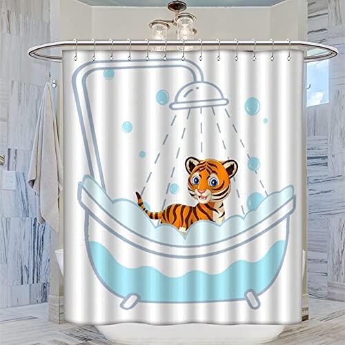 Cortina de ducha de 168 x 183 cm, con bonito diseño de tigre para tomar una ducha, cortina de baño impermeable con 12 ganchos de plástico, lavable