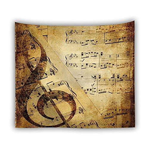 Tapiz de pared, moderno, moderno, hippie, bohemio, para colgar en la pared, notas de música marrón mate, decoración artística rectangular, tela impresa para sala de estar, dormitorio