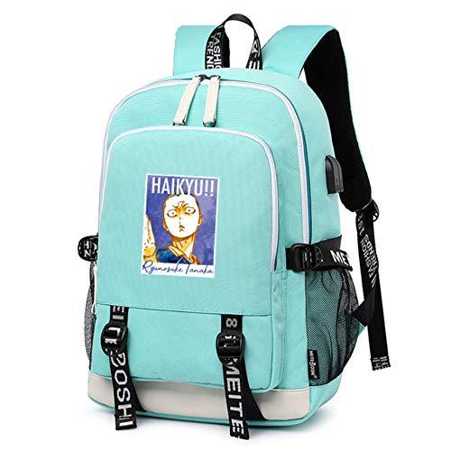 bgdo.cccc Anime Haikyuu!! Cartoon Mochilas Escolares Mochila de Viaje Grande Mochila para Libros Mochila para computadora portátil con Carga USB Bolsas de Hombro para Mujer,12
