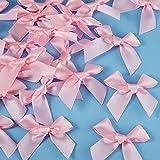 24 Piezas Lazos de Cinta de Satén para Bricolaje Manualidades Decoración de Boda Adornos Fabricación de Tarjetas, 5 cm de Ancho (Rosa)