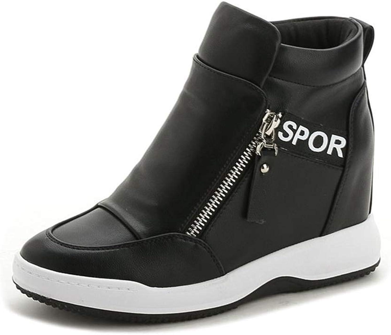 Fashion shoesbox Womens Hidden Heels Wedge Sneakers Fashion Designer Flat High Top Platform Rubber Sole Zipper shoes