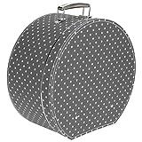 Lierys Hutkoffer Schwarz-Pünktchen - Maße: ca. 40 cm x 20 cm - Große Hutschachtel mit Kunstleder - Hutbox zur Aufbewahrung mit Tragegriff - Koffer für Hüte - Deko für die Wohnung schwarz